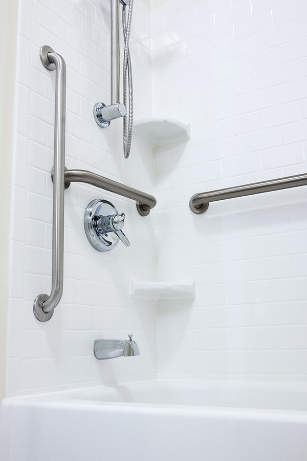 Safety rails and grab bars for showers.