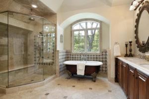 custom tiled walk in shower with large bench san antonio