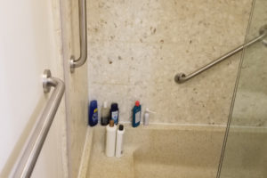 Three Grab Bars Installed In Walk In Shower