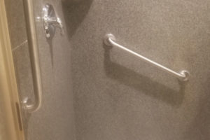 Two Grab Bars Installed In Walk In Shower Houston